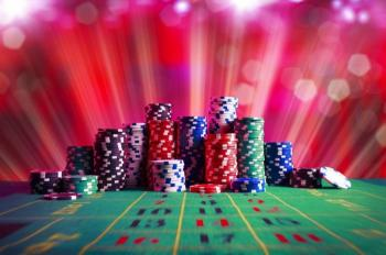 casino chips and table